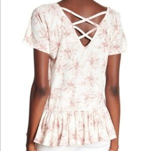 Lucky Brand Tops - Lucky Brand pink tropical criss cross back top